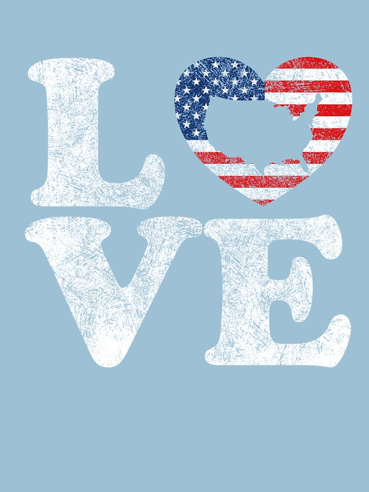 LOVE USA Distressed US Flag and Map in Heart T-Shirt by Dan66