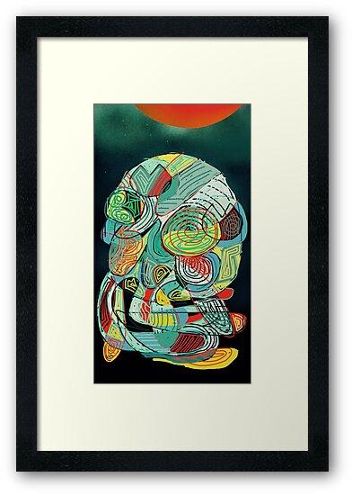 Squid No. 16 - Orange Moon by Jon Jackson