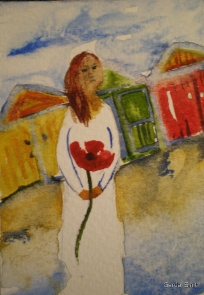 girl with red poppie by Gerda  Smit