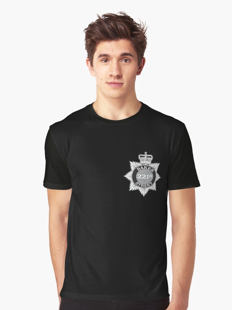Sherlock Holmes Police Badge (small) - Vintage style Graphic T-Shirt Front