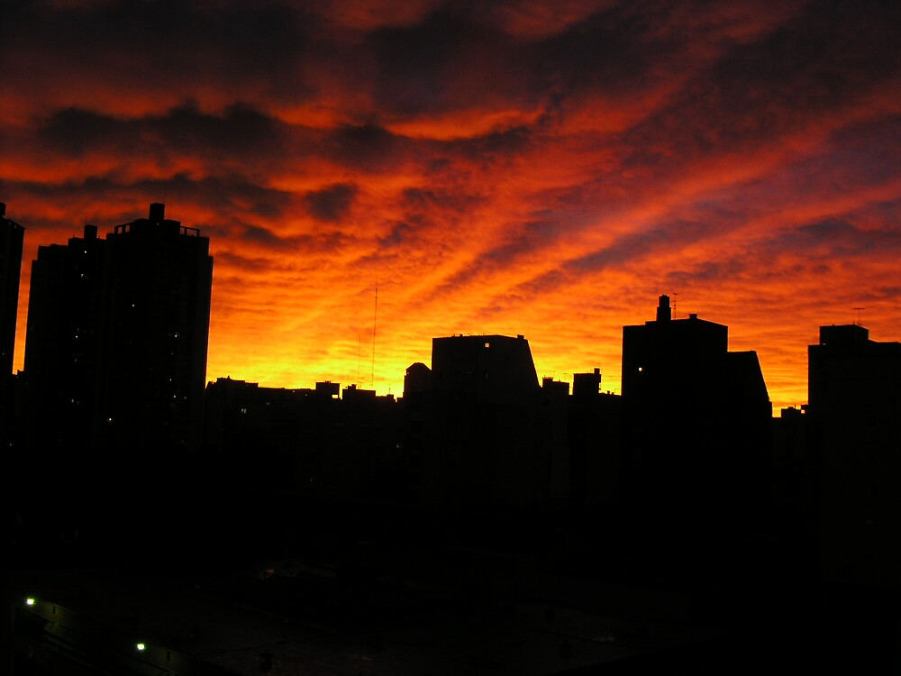 Fire in the sky Buenos Aires by Ezizza