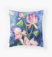 Bouquet of lotuses Throw Pillow
