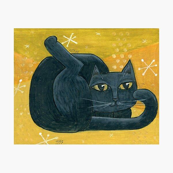 Mid-Century Modern Black Cat on Mustard Background Photographic Print