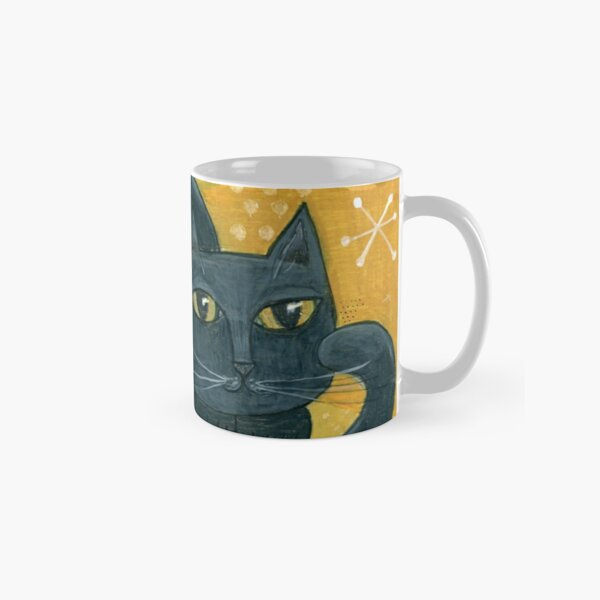 Mid-Century Modern Black Cat on Mustard Background Classic Mug
