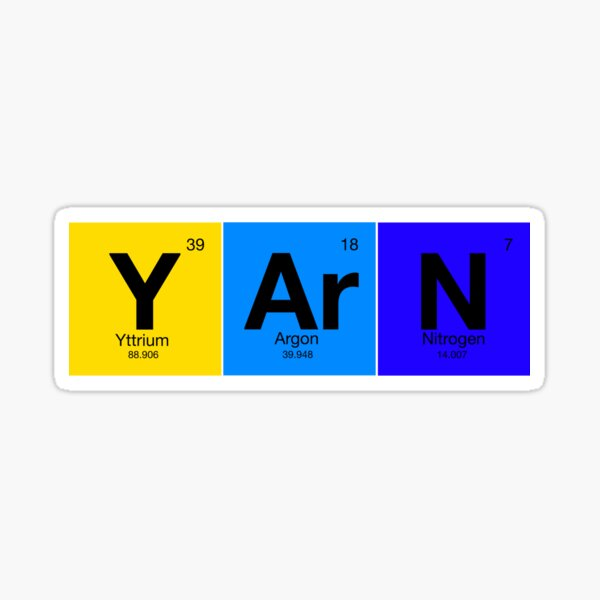 Elements of Knitting: Y-Ar-N from Periodic Table Sticker