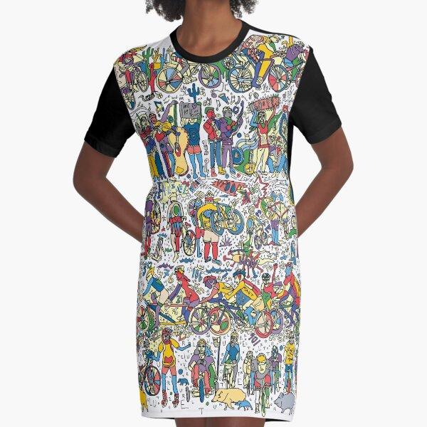 El Tour de Tucson Bike Race- A Tucson Portrait Story (multi color) Graphic T-Shirt Dress