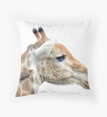 Giraffe And Oxpecker Reprised Throw Pillow