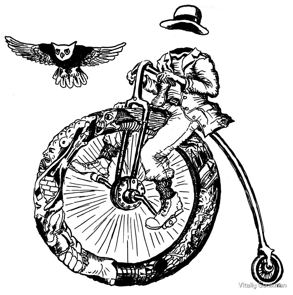 Biker. Surreal black and white pen ink drawing  by Vitaliy Gonikman