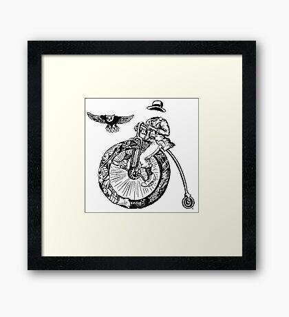 Biker. Surreal black and white pen ink drawing  Framed Print