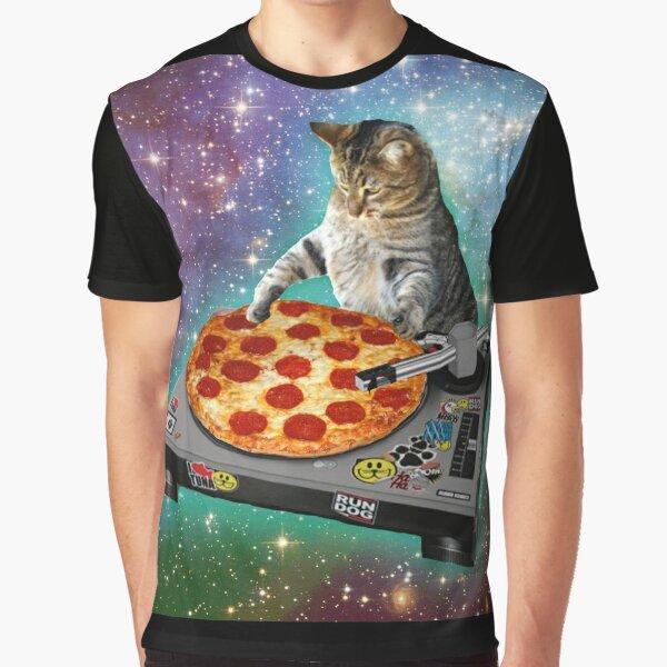 DJ CAT pizza Graphic T-Shirt