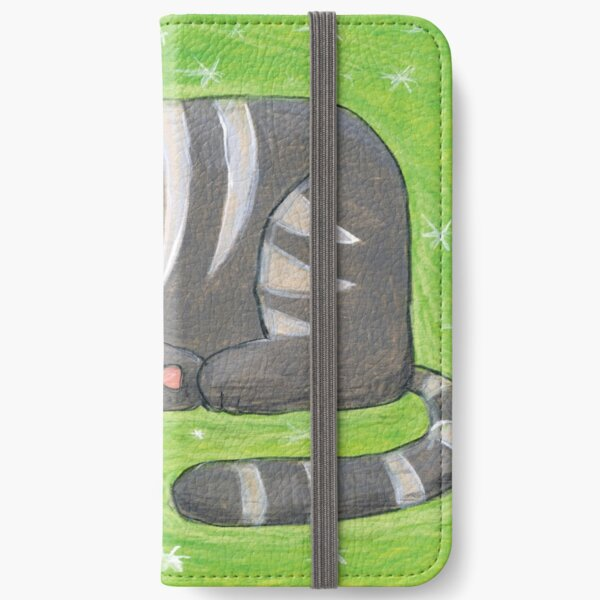 Mid-Century Modern Gray Cat on Green Background iPhone Wallet