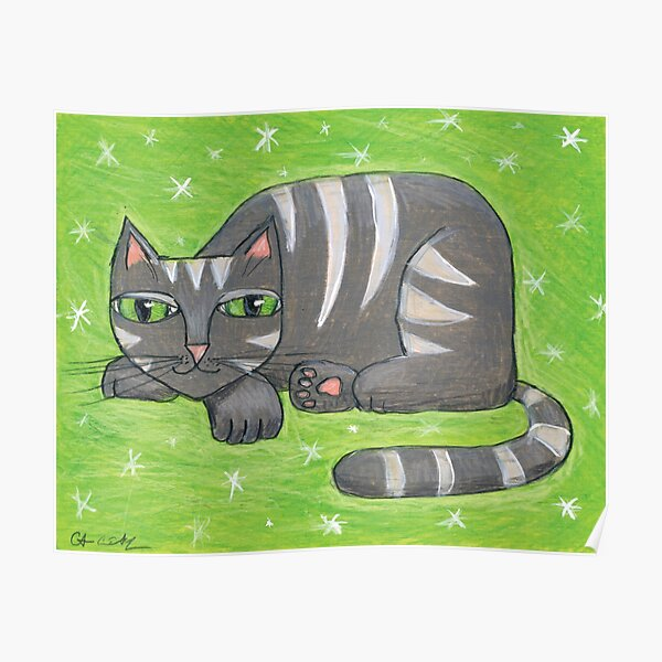 Mid-Century Modern Gray Cat on Green Background Poster