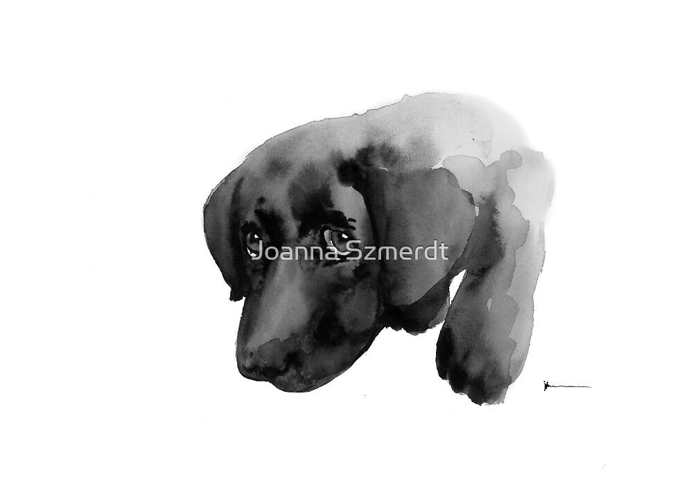 Black labrador dog watercolor painting art print by Joanna Szmerdt