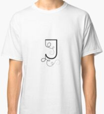 Calligraphic letter J with flourishes of decorative whorls Classic T-Shirt