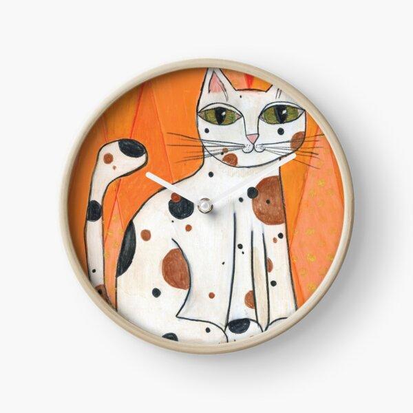 Mid-Century Modern Calico Cat on Orange Background Clock
