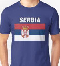 Serbia National Sports Design - Distressed Srbija Flag T-Shirt