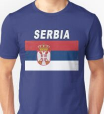 Serbia National Sports Design - Distressed Srbija Flag Unisex T-Shirt