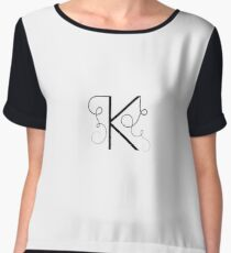 Calligraphic letter K with flourishes of decorative whorls Women's Chiffon Top