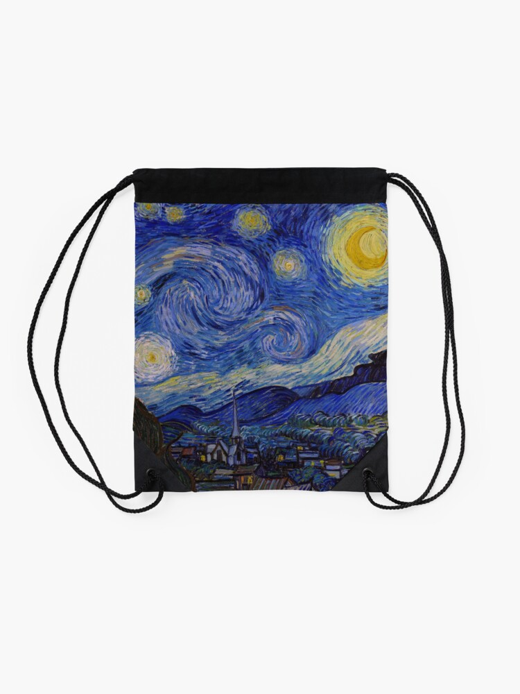 Alternate view of The Starry Night by Vincent van Gogh (1889) Drawstring Bag