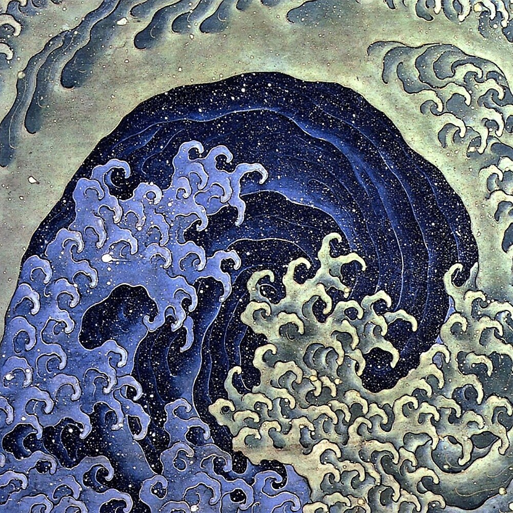 HOKUSAI, Feminine, wave, Japan, Japanese, Print, woodcut by TOM HILL - Designer