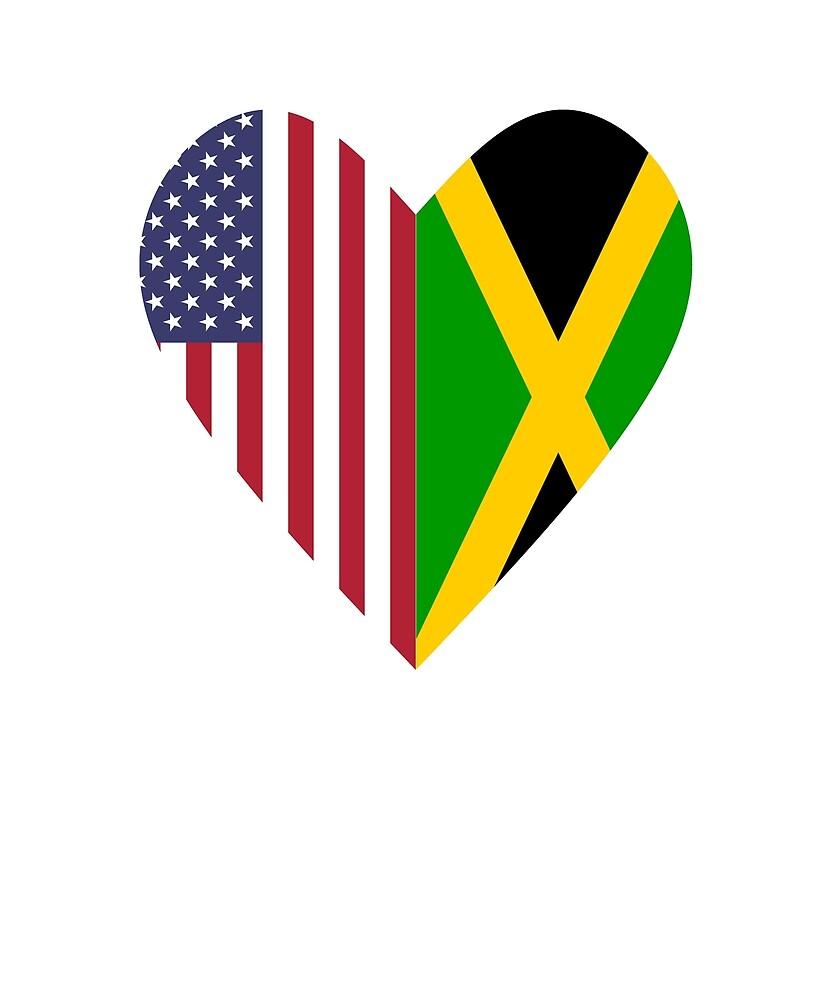 Half Jamaica Flag Half USA Flag Love Heart by TrevelyanPrints