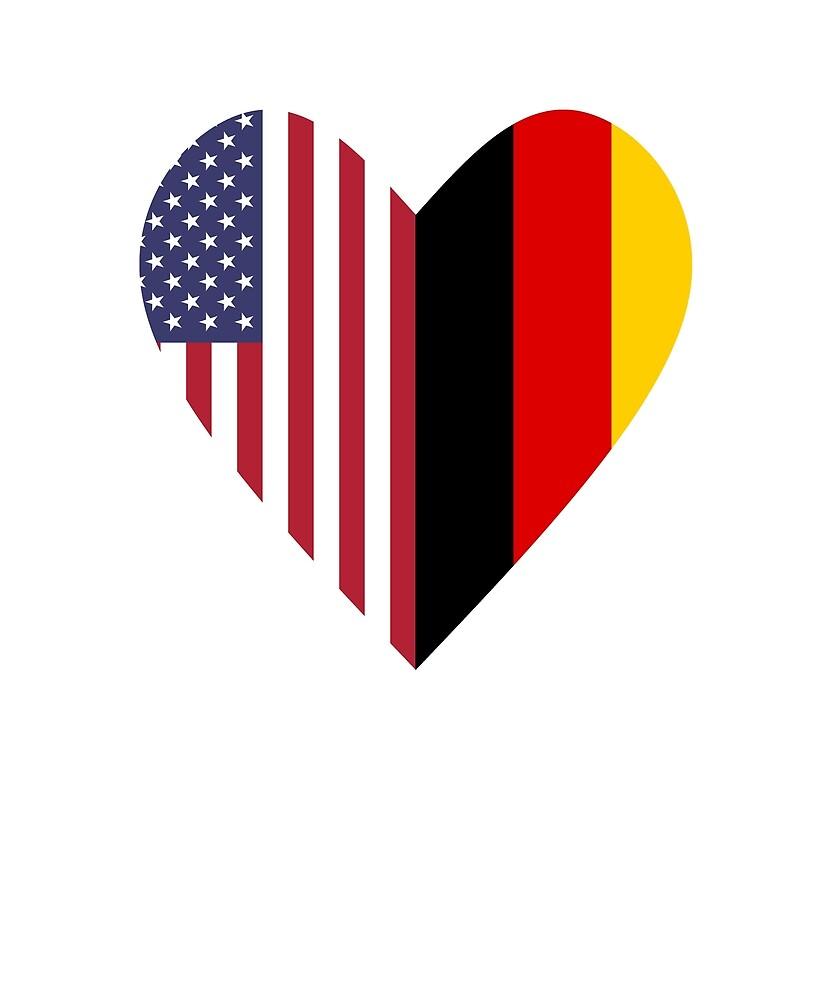 Half Germany Flag Half USA Flag Love Heart by TrevelyanPrints