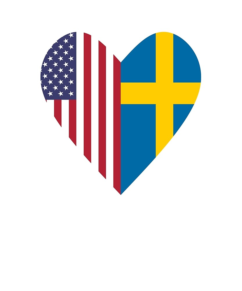 Half Sweden Flag Half USA Flag Love Heart by TrevelyanPrints