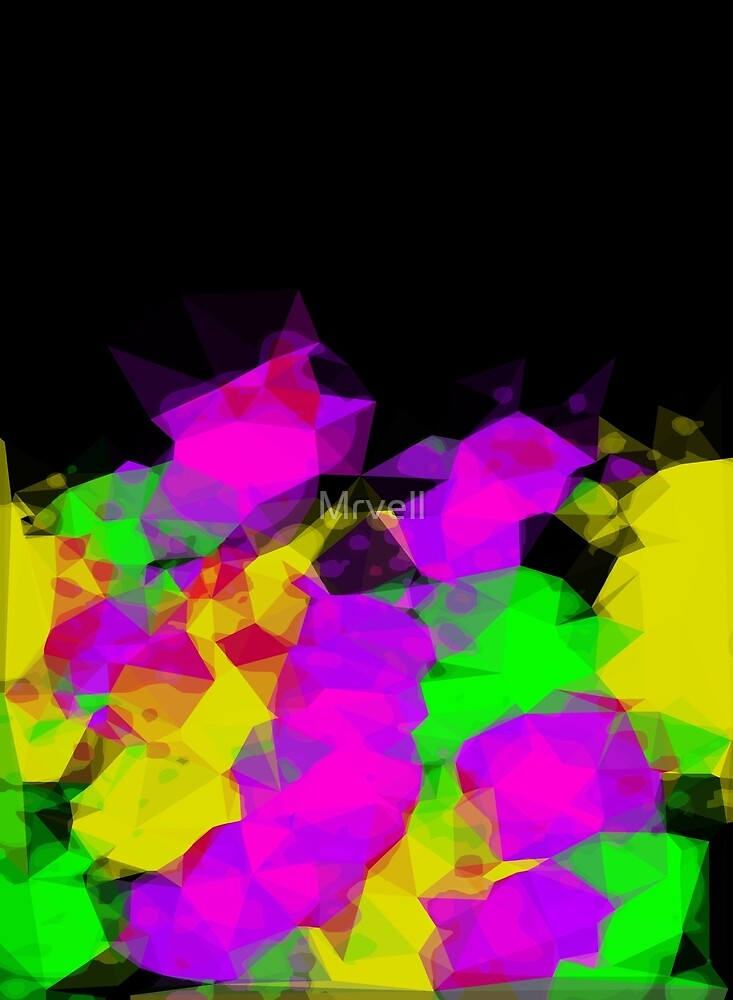 geometric triangle abstract pattern in pink purple yellow green with black background by Mrvell