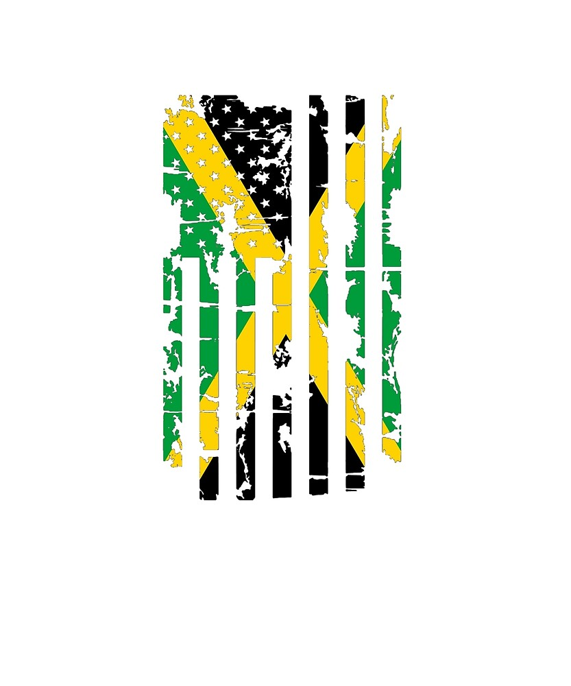Jamaica Flag In The USA Flag Distressed by TrevelyanPrints