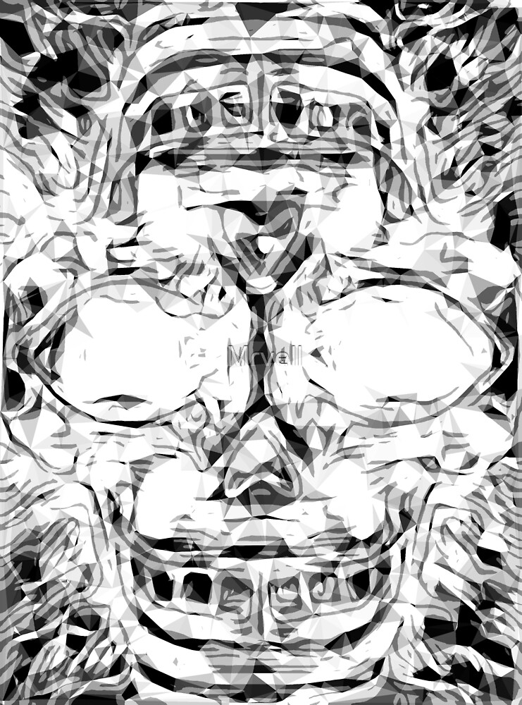 psychedelic skull art geometric triangle abstract pattern in black and white by Mrvell