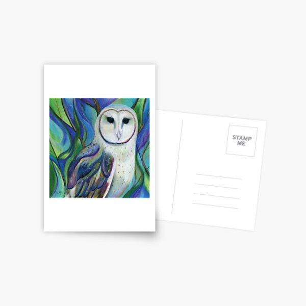 Barn Owl in a Fantasy Forest Postcard