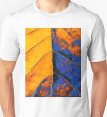 closeup leaf texture geometric triangle abstract pattern in blue orange yellow Unisex T-Shirt