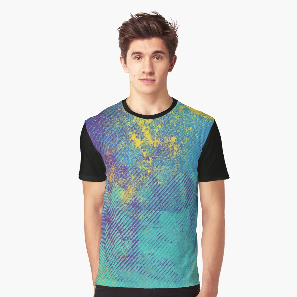 Striped Colored Grunge Abstract Pattern Graphic T-Shirt Front