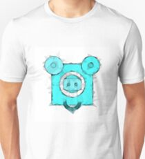 blue pig portrait geometric triangle pattern abstract T-Shirt