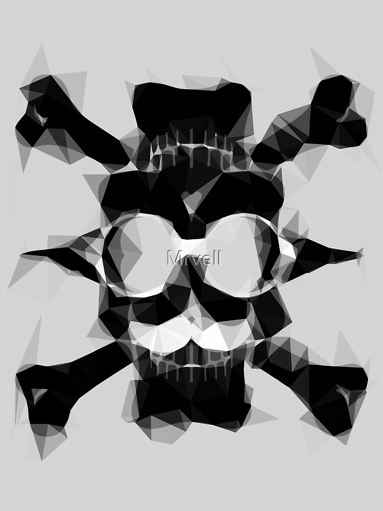 psychedelic skull art geometric triangle pattern abstract in black and white by Mrvell