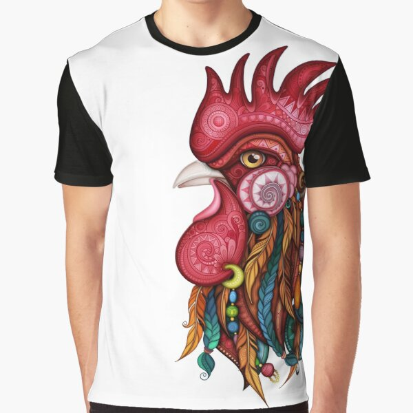 Tribal Rooster Design Graphic T-Shirt