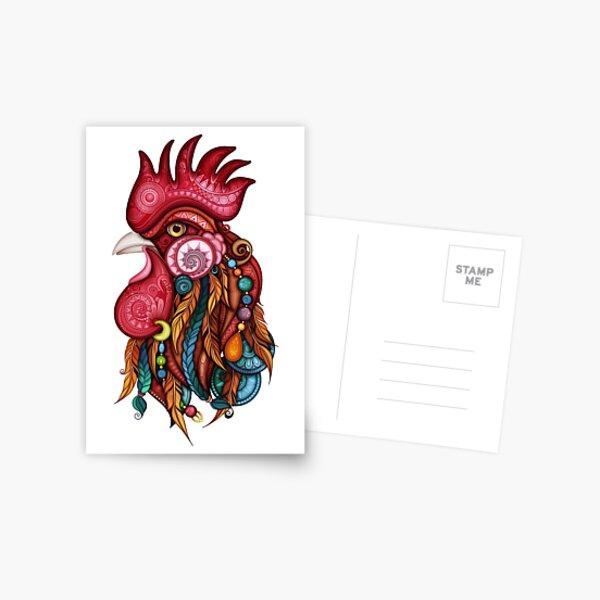 Tribal Rooster Design Postcard