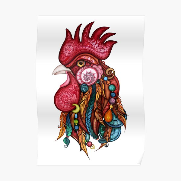 Tribal Rooster Design Poster