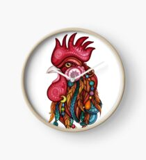Tribal Rooster Design Clock