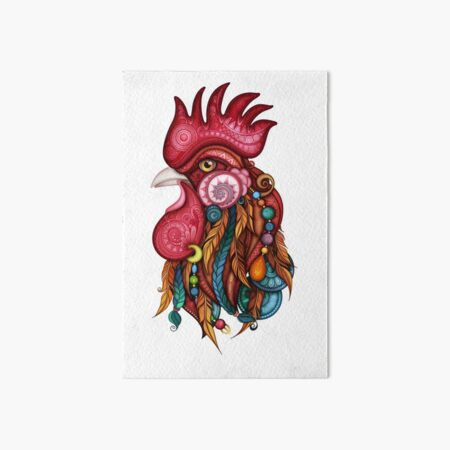 Tribal Rooster Design Art Board Print