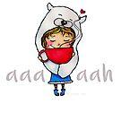 aaah Whimsical Polar Bear Hat Girl with Warm Mug by jitterfly