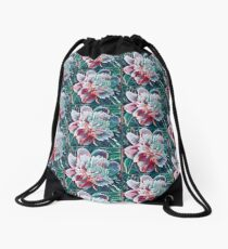 Pink flower from my yard abstract Drawstring Bag