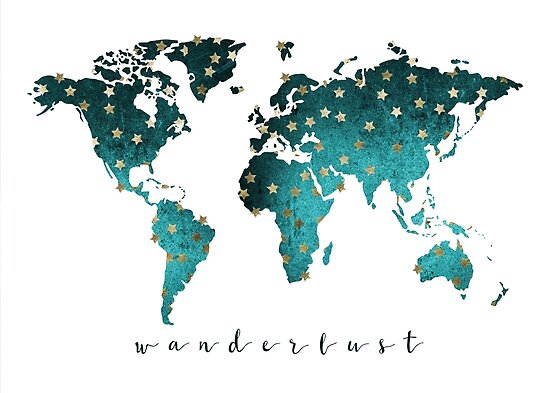 World map Turquoise by Isla360