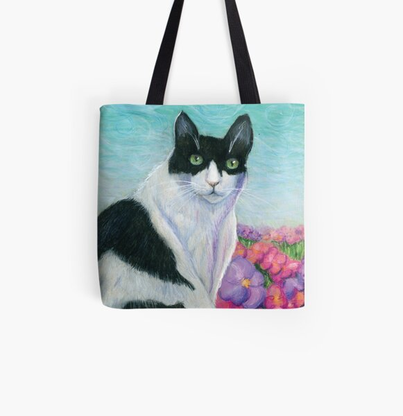 Black and White Cat in a Field of Flowers All Over Print Tote Bag