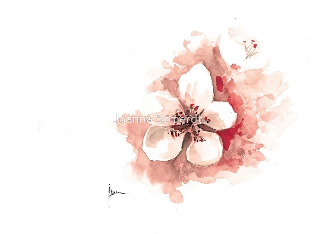 Cherry blossom watercolor art print painting SAKURA by Joanna Szmerdt