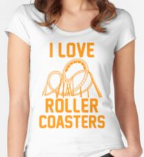 I Love Roller Coasters Women's Fitted Scoop T-Shirt
