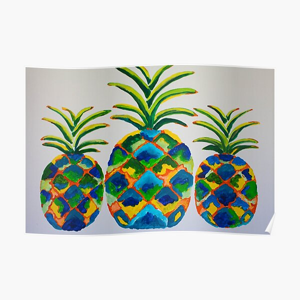 Blue Pineapples Poster