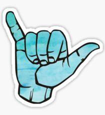 Blue Watercolor Hang Loose Sticker