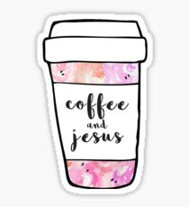 Coffee and Jesus Watercolor Mug Sticker