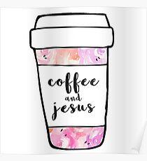 Coffee and Jesus Watercolor Mug Poster
